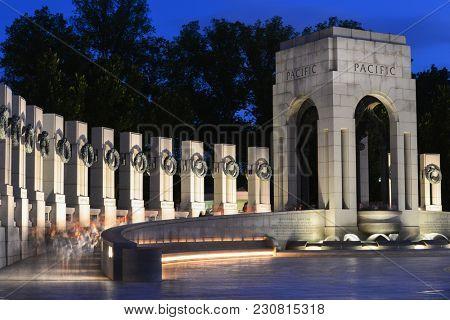 Washington DC at night - World War II Memorial
