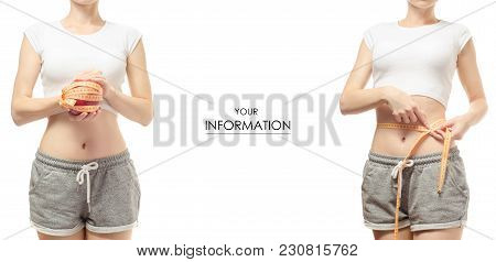 Young Woman Weight Loss Weight Loss With A Centimeter And Set Pattern On A White Background Isolatio