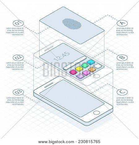 Isometric Concept Of Scanning Fingerprint On Smartphone, On Outline. Unlock Mobile Phone. Illustrati