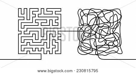 Continuous Line Drawing A Chaos And Order Concept, Chaos Theory Metaphor Minimalist Single Line Vect