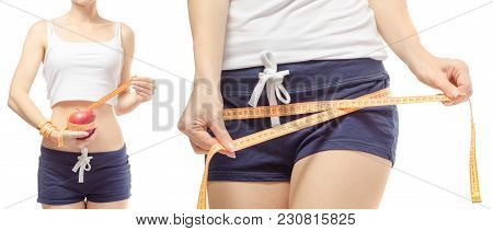 Young Woman Weight Loss Weight Loss With A Centimeter And Set On A White Background Isolation