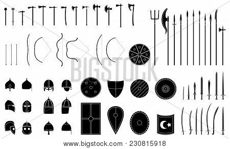 Medieval Weapons And Armors Set. Medieval Warrior Equipment. Sword, Sabre, Dagger, Axe, Male, Spear,