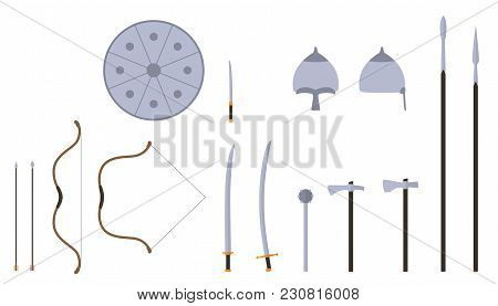 Mongol Weapons And Armors Set. Mongol Nomad Warrior Equipment. Sable, Axe, Male, Spear, Bow, Arrows,