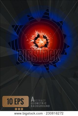 Abstract Polygonal Hot Explosion Eye With Dark Shatter Background