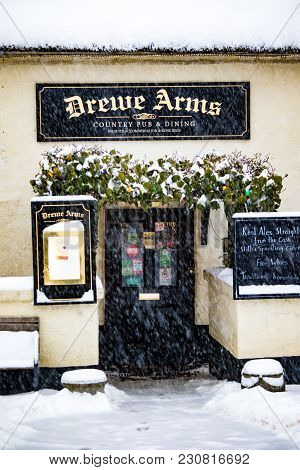 Drewsteignton, Devon, United Kingdom, 01/03/2018:- The Drewe Arms During The Beast From The East Win
