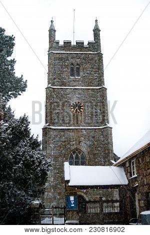 Drewsteignton, Devon, United Kingdom, 01/03/2018:- Snow Covered Church During The Beast From The Eas