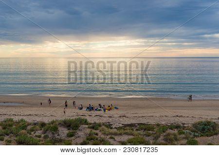 South Australia, Australia - November 11, 2017: People Relaxing On Sellicks Beach In South Australia