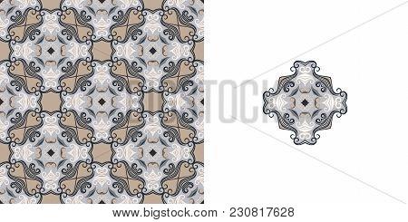 Ornate Decorative Tiles. Abstract Background. Vector Illustration. Ceramic Tiles Eps10