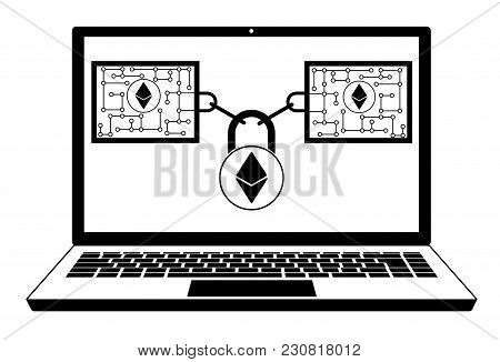 Ethereum Block Chain Technology On A Screen Laptop   ,disign Concept  Black And White With Security