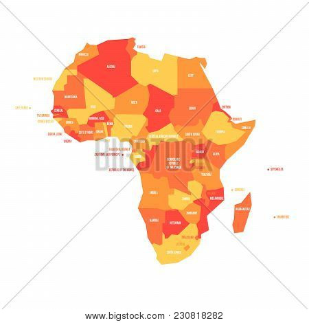Very Simplified Vector Infographical Political Map Of Africa.