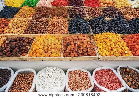 Dried Fruits On Food Market, Boxes With Colorful Various Assortment Of Vegetarian Healthy Dry Fruits