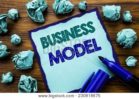Writing Text Showing Business Model. Business Concept For Solution Strategy Plan Written On Sticky N
