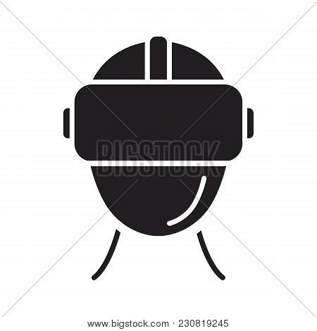 Virtual Reality Helmet Black Silhouette Icon. Headset Virtual Reality Vector Illustration On White B
