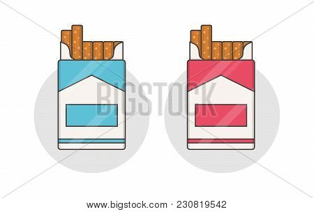 Cigarette Pack Isolated On Background. Vector Open Cigarettes Pack.