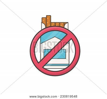 No Smoking. Lines Icon On White Background