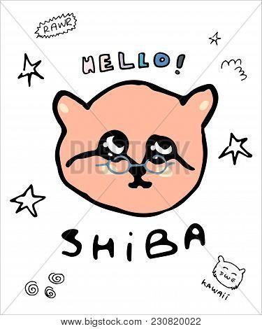 Hand Drawn Shiba Dog Vector For T Shirt Printing And Embroidery, Graphic Tee And Printed Tee