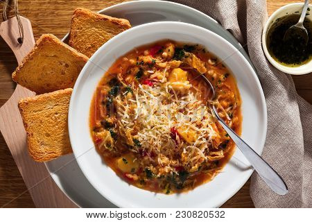 Minestrone Soup And Crisp, Sweetened Bread. Dieting Healthy Food