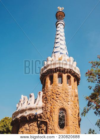 Tower Of Gate House - Park Guell, Barcelona, Catalonia, Spain, Europe