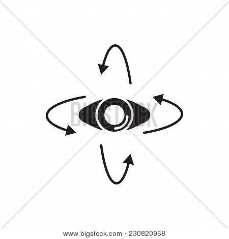 Virtual Reality Eye Black Silhouette Icon. Eye Vector Illustration On White Background. Element For