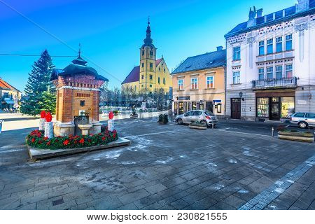 Scenic View At Old Historic Town In Northern Croatia, Samobor Baroque Architecture.