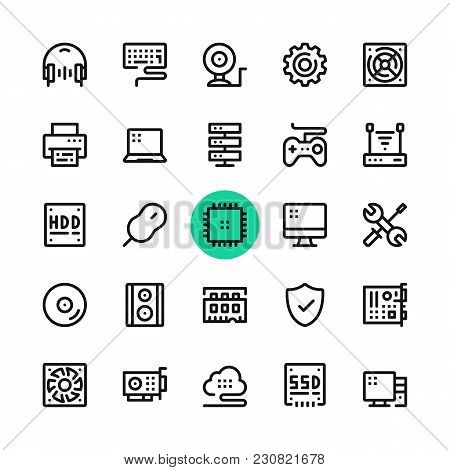 Computer Parts, Computer Hardware Line Icons Set. Modern Graphic Design Concepts, Simple Outline Ele