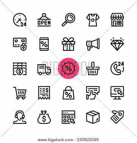 E-commerce, Online Shopping, Ecommerce Line Icons Set. Modern Graphic Design Concepts, Simple Outlin