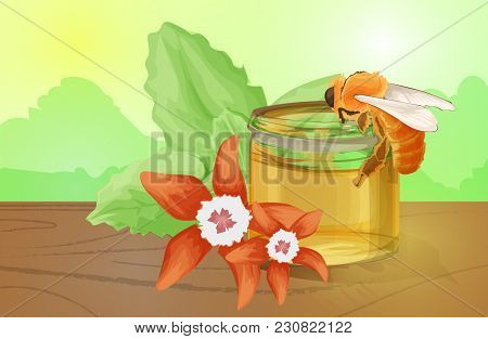 Natural Floral Honey Colorful With Honeycombs Daisy Flowers Bees And Honey Flowing Realistic Vector