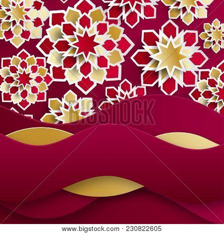 Ramadan Kareem Greeting Card With Arabic Origami Paper Stars. Holy Month Of Muslim. Symbol Of Islam.
