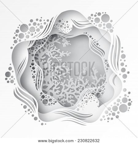Paper Underwater Sea Cave With Coral Reef, Seabed In Algae, Waves. Paper Cut Deep Style Vector.  Dee