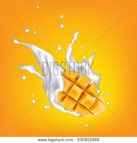 Milk Splashing Crown On Yellow Background With Juicy Mango Cubes. Yogurt Splash With Mango Fruit Cut