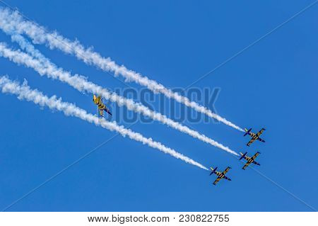 Timisoara, Romania - May 21, 2016: Fighter Jets In A Local Air Show Organised By The International A