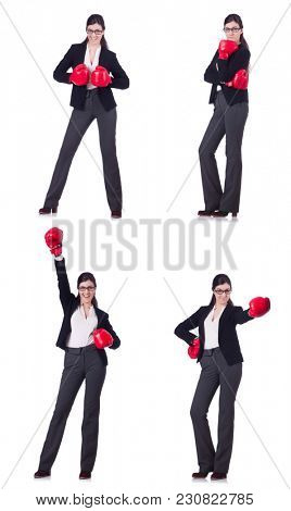Young boxing businesswoman isolated on white