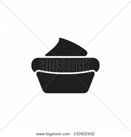 Sweet Cake Black Silhouetteicon . Sweet Cake Vector Illustration On White Background. Element For Fo