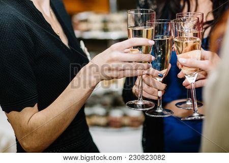 Closeup Photo Of Cheerful Girls Celebrating A Bachelorette Party