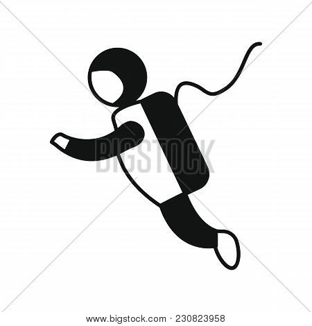 Astronaut Icon In Silhouette Style. Space Illustration With Astronaut In White Background. Element F