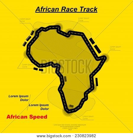 Black Road In Africa Form Silhouette Isolated On Yellow Background