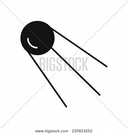 Satellite Icon In Silhouette Style. Space Illustration With Satellite In White Background. Element F