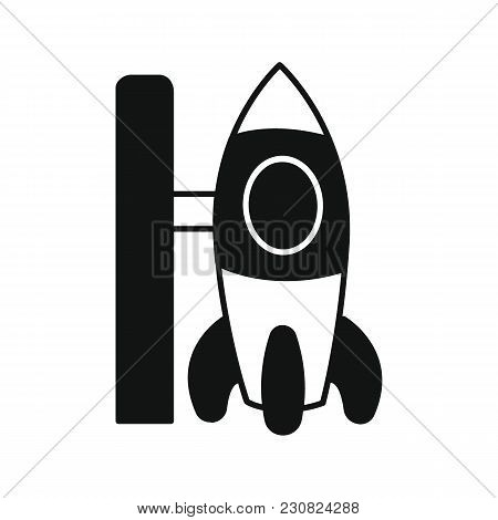 Spaceship Icon In Silhouette Style. Space Illustration With Spaceship In White Background. Element F