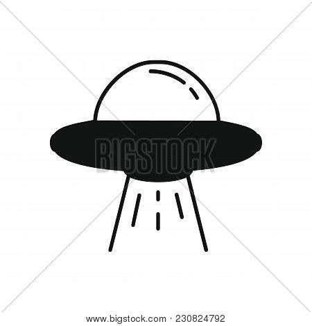 Ufo Spaceship Icon In Silhouette Style. Space Illustration With Ufo In White Background. Element For