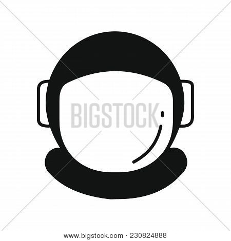 Astronaut Helmet Icon In Silhouette Style. Space Illustration With Astronaut Helmet In White Backgro