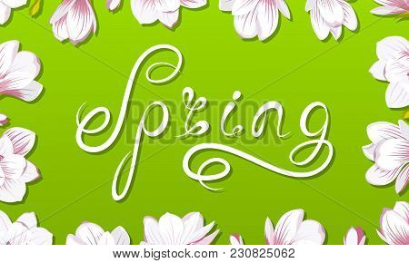 Spring Border Frame With Beautiful Magnolia Flowers, Lettering, Headline - Illustration Vector