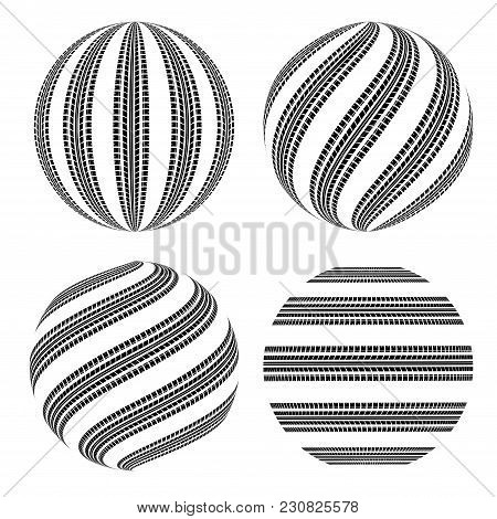 Set Of Four Black Sphere Tire Tracks Isolated On White Background