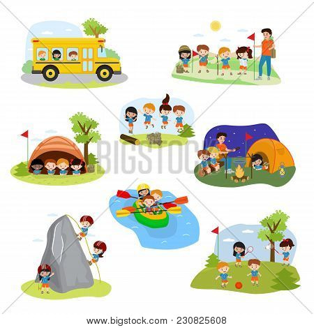 Kids Camp Vector Children Camper Characters And Camping Activity On Summer Vacation Illustration Set