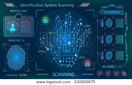Hand Scan, Handprint Imprint , Finger Print In Technological Theme, Futuristic Style, Hud Elements -