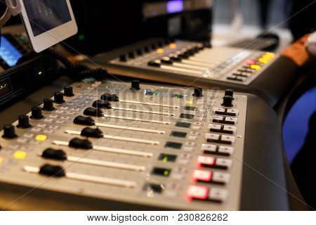 Studio With Modern Sound Mixing Equipment. Selective Focus.
