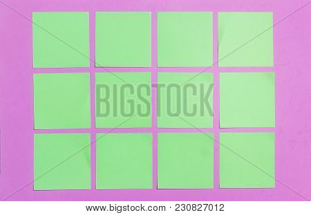 Stationary, Blank Green Sticker On Lilac Board. Flat Lay. Top View. Time-management, Planning