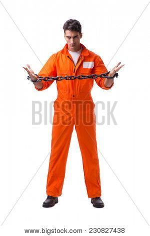 Prisoner with his hands chained isolated on white background