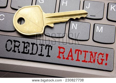 Hand Writing Text Caption Inspiration Showing Credit Rating. Business Concept For Finance Score Hist