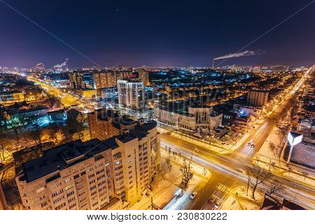 Night Voronezh Aerial Cityscape From Rooftop. Intersection On Moscow Prospect