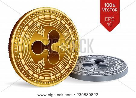 Ripple. 3d Isometric Physical Coins. Digital Currency. Cryptocurrency. Golden And Silver Coins With